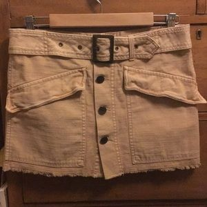 FP khaki button down cargo utility mini skirt